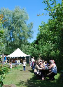 A view of the eating area at the Dryade International camp 2014